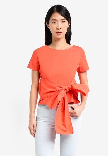 ZALORA orange Front Tie Top 9AB8AAA442B0B2GS_1