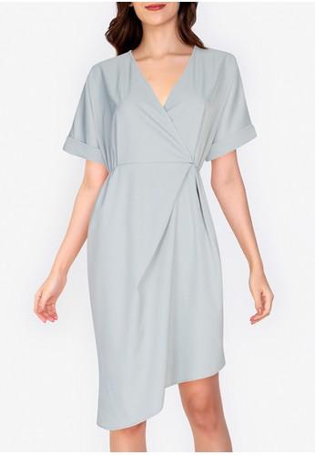 ZALORA WORK green Asymmetric Hem Wrap Dress 48A64AAC37B8FEGS_1
