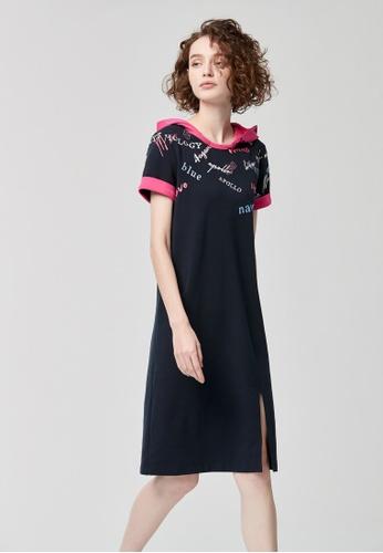 iROO blue Contrast Hoodie Dress 1E47FAA4274C9FGS_1