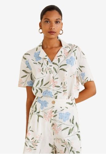 Mango white Camp-Collar Shirt 64EE4AA87FB60DGS_1