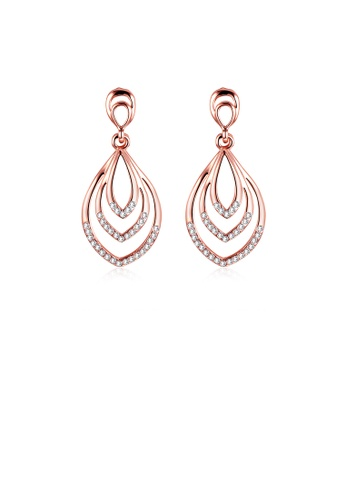 Glamorousky white Plated Rose Gold Water Drop Earrings with Austrian Element Crystal D37FDAC531EA82GS_1
