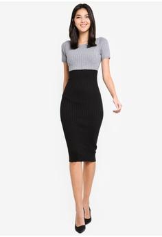 ZALORA black and grey Boat Neck Colourblock Knit Dress 17404AA3C43081GS 1 9c63ea244