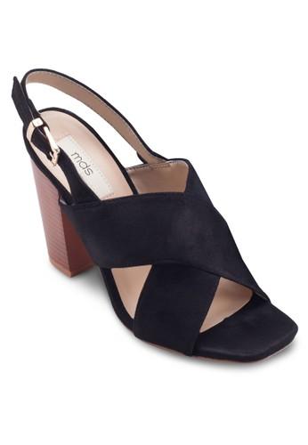 Vsalon espritincente 交叉繞踝粗跟鞋, 女鞋, 鞋