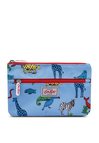 Cath Kidston grey and blue Animals Kids Double Zip Pencil Case 02793KC0FE6D18GS_1