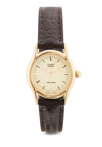 LTP-1094Qesprit旗艦店-9ARDF 皮革女性圓錶, 錶類, 飾品配件