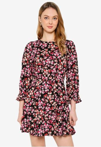 Miss Selfridge black Black Rose Long Sleeves Dress 02429AAF67181CGS_1