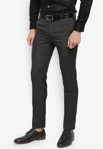 G2000 grey Irregular Checked Poly Textured Formal Ultra Slim Pants 048AAAA8F990C2GS_1