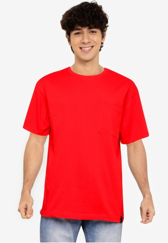 UniqTee red Crew Neck Tee with Side Pocket 35566AA2B96730GS_1
