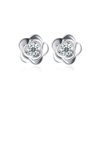 Glamorousky white 925 Sterling Silver Simple Fashion Flower Cubic Zirconia Stud Earrings 408BCAC340A1EDGS_1