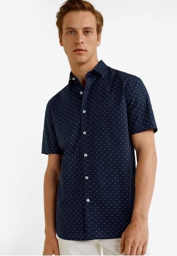 Mango Man 藍色 Regular Fit Printed Cotton Shirt B82CEAA4E1BA80GS_1
