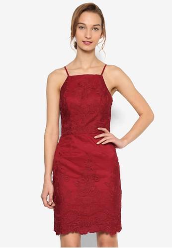 Chi Chi Ellie 花卉紋理細zalora時尚購物網評價肩帶無袖連身裙, 服飾, 洋裝
