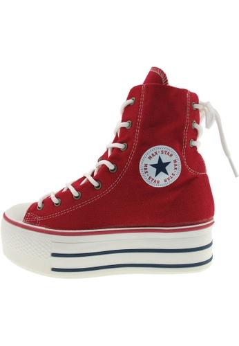 Maxstar 紅色 新款韩国鞋C50-Back-3H時尚帆布布混合女紅色 US Women Size MA345SH71GUITW_1