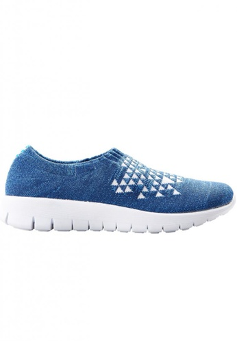 F-KNIT multi Ladies Slip-On Triangle Pattern Sneaker FK273SH13EHIHK_1