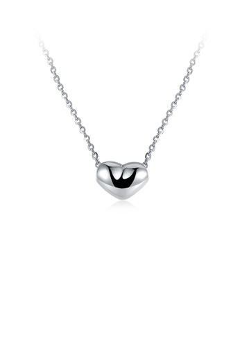 Glamorousky silver Simple Romantic Heart Pendant Necklace 897BEACCFAE026GS_1