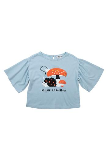 Vauva blue Vauva Girls Hedgehog and Mushroom Cotton Top - Blue 626E3KA5C372BCGS_1