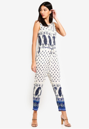 ZALORA white and multi Button Down Jumpsuit 01589AADF02C51GS_1