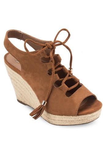 Inaresprit台灣a 露趾繫帶麻編楔形鞋, 女鞋, 鞋