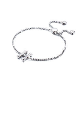 Glamorousky silver Simple and Fashion English Alphabet H 316L Stainless Steel Bracelet DD65FAC804289AGS_1