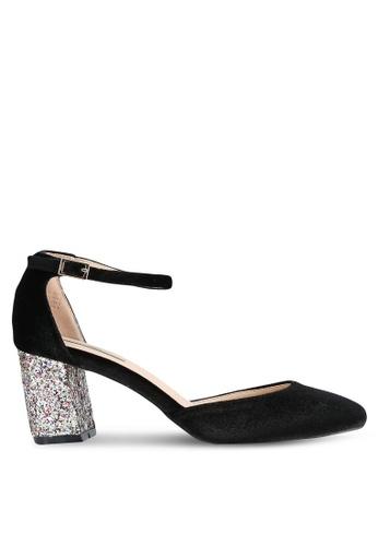 Nose black Velvet Ankle Strap Glitter Block Heel Pumps NO327SH0S6TZMY_1