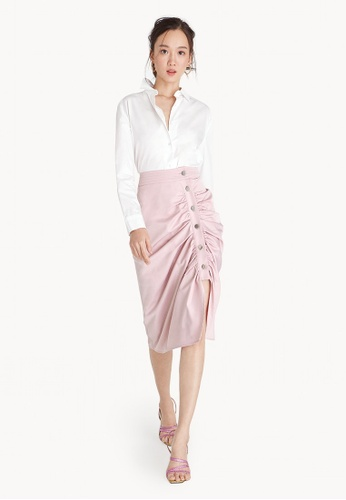 Pomelo pink Midi Button Down Ruched Pencil Skirt 93442AA65C092CGS_1
