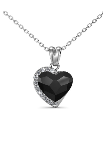Her Jewellery silver Fond Love Pendant (Jet Black) - Made with premium grade crystals from Austria HE210AC0GFHJSG_1