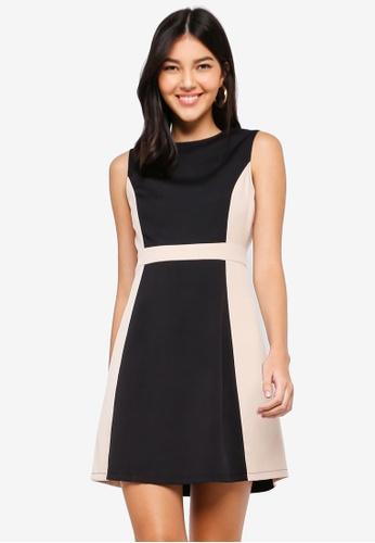 ZALORA black and multi Colourblock Fit And Flare Dress 1ED57AA0262419GS_1