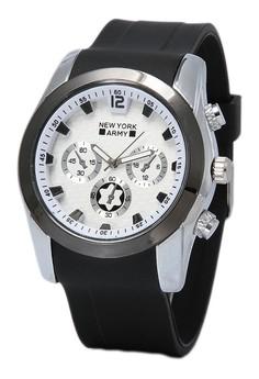Newyork Army Men's NYA882 Black Rubber Strap Watch (White Dial)