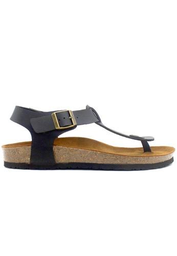 SoleSimple 黑色 Oxford - 黑色 百搭/搭帶 軟木涼鞋 244F7SH4C6D307GS_1