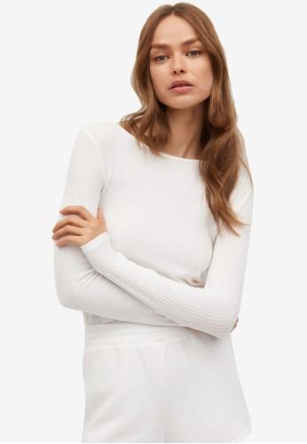 Mango white Long Sleeved T-Shirt Back Open 57C29AA2B1693EGS_1