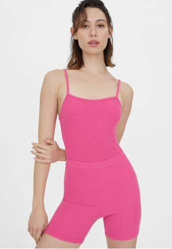Pomelo pink Ribbed Square Neck Bodysuit - Pink C7865AA2F8F624GS_1