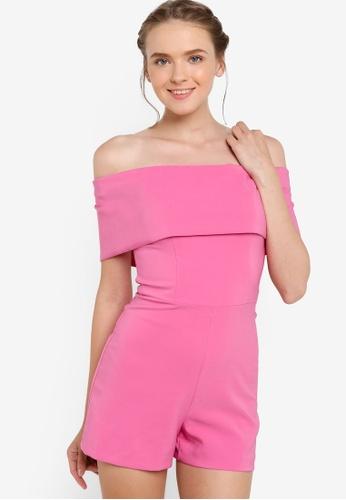 Miss Selfridge pink Pink Deep Bardot Playsuit MI665AA28HNFMY_1
