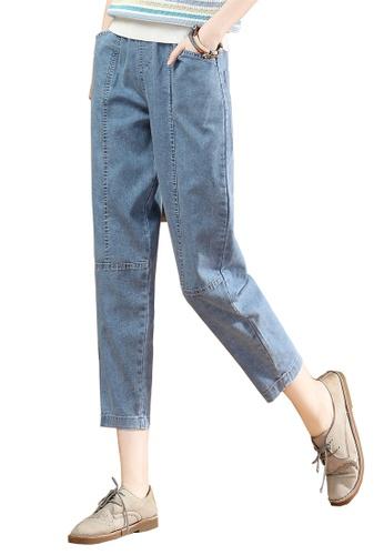 A-IN GIRLS blue Elastic Waist Wide-Leg Jeans A9146AA7D5B108GS_1