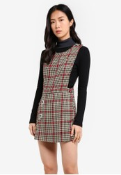Mango brown Houndstooth Pinafore Dress MA193AA0SD1EMY_1