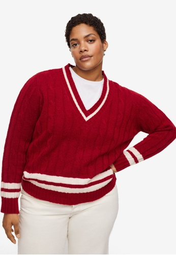 Violeta by MANGO red Plus Size Cable-Knit Sweater 84D1DAA01510CAGS_1