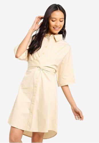 ZALORA 米褐色 綁帶襯衫洋裝 D3647AA5D587C4GS_1