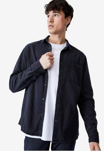 Cotton On black Camden Long Sleeve Shirt 7104BAA5BC421AGS_1