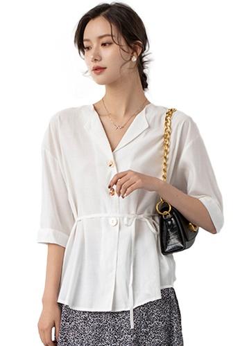 Sunnydaysweety white Light Mature V-Neck Mid-Sleeve Drawstring Waist Cardigan Top A21031204W 10FB4AA4C23AB4GS_1