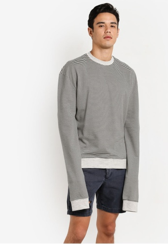 Topman 灰色 Grey Stripe Sweatshirt TO413AA96HLNMY_1