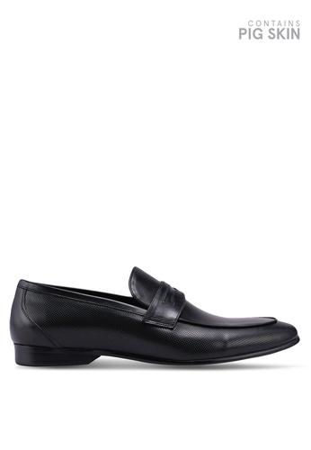 Dune London black Paw Chisel Toe Perf Loafers D1449SH1B74D74GS_1