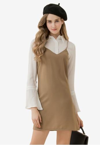 Eyescream brown Faux 2-Piece Cami Dress 253C0AAF89631EGS_1