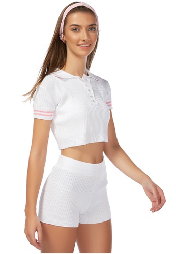 London Rag white Be a Sport Cropped Polo T shirt in White 972D7AAC1EBF5DGS_1