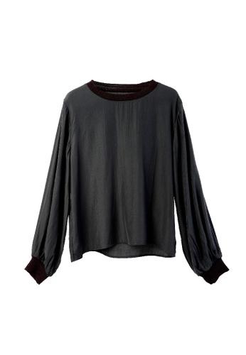 Giordano Ladies black Balloon Sleeve Blouse with Ribbed Cuff E8748AAA8E02ECGS_1