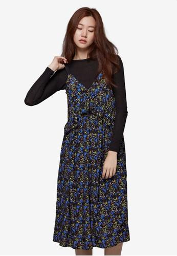 層次褶飾細肩帶印花連身裙, 服esprit台灣outlet飾, 洋裝