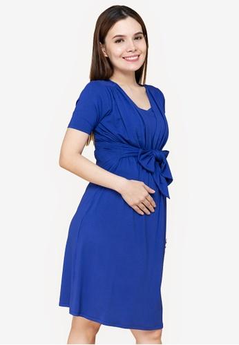 MOTHER 2 BE blue Selina Nursing Maternity Dress 5DEF3AAE54E4A7GS_1