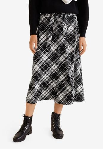 Mango black Check Flared Skirt D0568AA96DE2DEGS_1