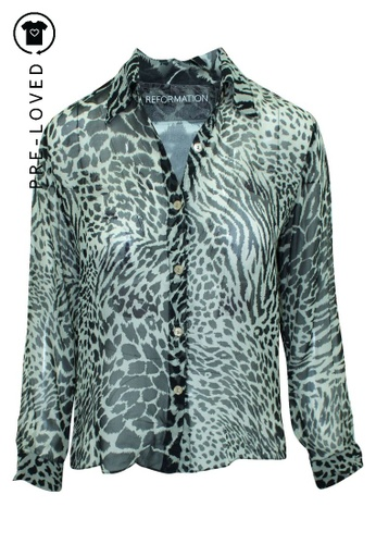 Reformation multi Pre-Loved reformation Animal Print Blouse 8ECECAABE00414GS_1