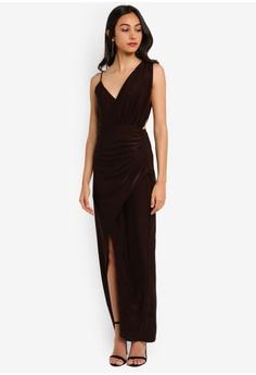 bfb4112759c2 MISSGUIDED Strappy Slinky Wrap Maxi Dress RM 169.00. Sizes 6 8 10 12 14