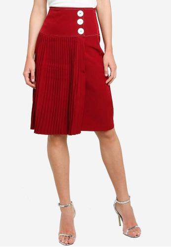 ZALORA red Button Detail Front Pleat Skirt 3AA7DAAA7C06F5GS_1