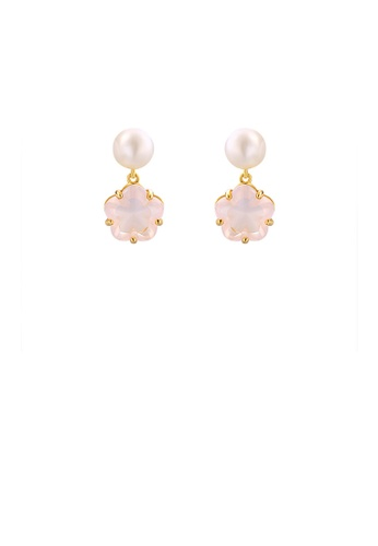 Glamorousky pink 925 Sterling Silver Plated Gold Fashion and Elegant Cherry Blossom Freshwater Pearl Stud Earrings with Cubic Zirconia C1834AC00112DEGS_1