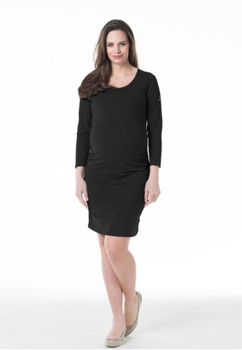 Bove by Spring Maternity black Knitted Long Sleeve Charmaine Round Neck Mozzie Dress JD501 BO010AA50GWJSG_1